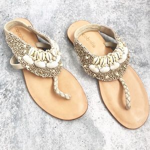 New Cocobelle Shell Leather Thong Sandals